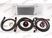 UNIVERSAL 10ROW SILVER OIL COOLER KIT ALUMINUM TURBO NA TURBO SUPERCHARGER