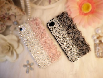 For Apple iPhone 4,4S, Girls Special 3D Rose Flower Sweet Hard Mobile Cell Phone Bags Cases, QUALITY PC + Clothes + Pearl,Z801