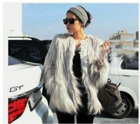 2013  high quality  10cm Long Hairy Full Sleeve  Faux Fur Jacket Coat celebrity women   white Korea  fashion  gray  autumn