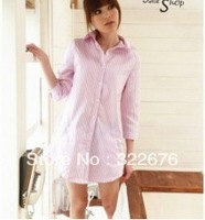 2013 New Arrival Casual Style Stripe Turn-down Collar Cotton Shirt Pink 	QM13070902