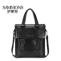 New style fashion brand man bag first layer of cowhide handbag genuine leather briefcase shoulder bags Black Coffee