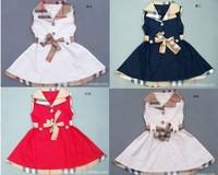New Retail Girls Summer Dress Kids Belt Plaid Classic Dresses Children Clothing Fit 1-5yrs Princess Navy Blue White Freeshipping