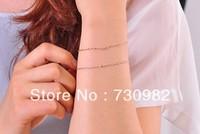 pure 18k  gold  women bracelets water wave  shape  supperchain  Fashion Jewelry birthday  gift  free shipping