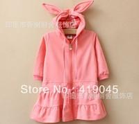 Free Shpping Baby Girls Cartoon Rabbit Ear Hoodies Gray Pink Long Hoodied Sweater Full Sleeve Fall Coat Ruffle-1250