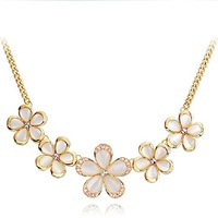 Gift flower - eye female short design chain crystal necklace+Free shipping