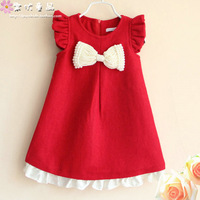 Children's clothing 2013 autumn and winter female baby child bow princess one-piece dress child tank dress