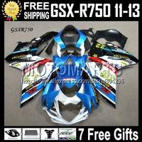 7gifts For SUZUKI GSX R750  NEW Blue white 11 12 13 Injection Fairing GSX-R750 GSXR750 GSXR 750 #5A37 ! GSXR-750 2011 2012 2013