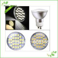 Freeshipping 5pcs/Lot CE & ROHS Approval 27 LED Led GU10  5050 SMD 5W  Day / Warm White Light Bulb Lamp