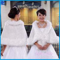 Fashion Warm Faux Fur with Pearl decoration Bridal Wedding Wrap Shawl Jacket Coat dress accessories