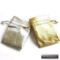 Free Shipping Gold and Silver Jewelry Pouch with String Jewelry  Packaging Bags for Jewelry 10* 12cm 100pcs/lot
