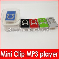 500pcs Mini Clip MP3 Cartoon MP3 player Digital Music Player MP3 player + USB Cable +Earphone+Crystal Box cheap free DHL
