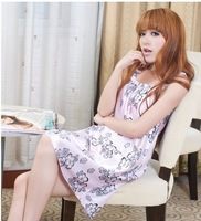2013  Women's Free Shipping Charming  Cheap Concise Flower Printing  Nightgowns  Pink JY13030126