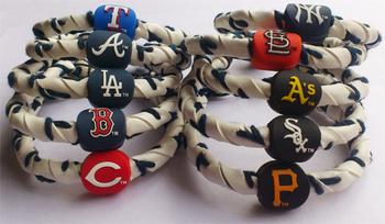 Handmade Genunie Baseball Leather Bracelet, Frozen Rope Wristband, 23 M* LB Teams in Stock, 100pcs/lot, Free Shipping