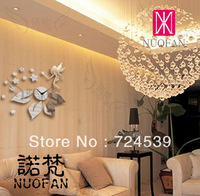 Free shipping!Kc-028 DIY fashion wall stickers home decoration mirror wall clock living room wall clock