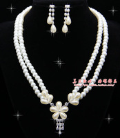 The bride accessories jewelry married rhinestone double layer pearl necklace pendant female xzz13