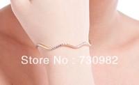 pure 18k  gold  women bracelets wave round    Fashion Jewelry birthday  gift  free shipping
