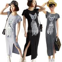 Womens Short Sleeve Cat Printed High Split Long Casual Dress Free Shipping