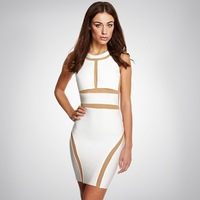 DHL free shipping WHITE  & MESH BODYCON DRESS celebrity bandage dress fashion bandage dress
