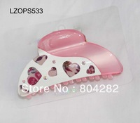 Free shipping China Post Airmail,wholesale Acrylic printing hair claw,12pieces per card LZMX533