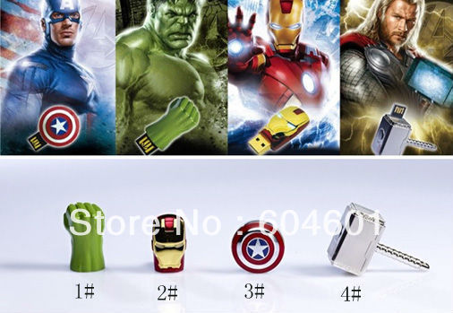Wholesale Sale Flawless Avengers Iron Man LED Flash 1GB 2GB 4GB 8GB 16GB 32GB 64GB USB Flash 2.0 Memory Drive Stick Pen(China (Mainland))