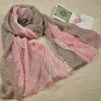Fashion  Leopard  Print  Zebra  Print  Coffee Pink  Scarf  Thermal  Sun Cape Scarf