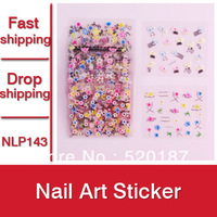 60 sheet Hot Selling 3D Nail Art Sticker French Nail Decorations Decal Tips Nails Wrap -- NLP143 Free Shipping