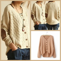 Fashion New Stylish Beige Long Sleeve Elbow Contrast Leather Sweater Coat For Women 2013 Autumn Cardigan Jumper Sweater