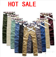 Free Shipping New Brand 2014 Fashion Man Sport Trousers Men's Casual Cotton Pants Dress Slim Fit Pants For Men Without Blet