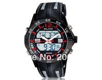 NEW ALIKE AL112 Unisex Round Dial Alloy Case Analog & Digital Display Dual-movement Waterproof Sports Wrist Watch+free shipping