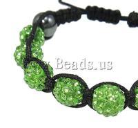 Free shipping!!!Rhinestone Shamballa Bracelets,Jewelry Brand, Clay, with Wax Cord & Non-magnetic Hematite, handmade