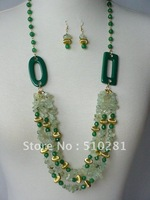 Free shipping!!!18inch fashion luxury semi-precious stone jewelry set chip quartz necklace and earring