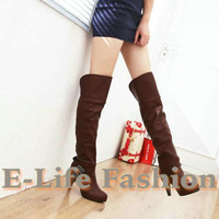 Free shpping Large size boots Cocktail party Black Sexy PU boots Bowtie Rhinestone boots women Over The knee bootsUS4-10AJE-9011