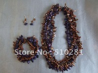 Purple and Brown multistrand freshwater pearl jewelry set