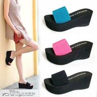 Slippers female platform wedges drag all-match platform slippers sandals