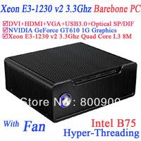 Barebone servers with hyper-Threading Technology Xeon E3-1230 v2 Quad Core 8 threads intel B75 NVIDIA GeForce GT610 1G graphic