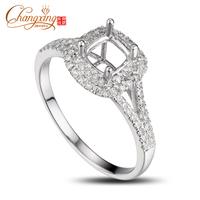 5x5.5mm Cushion Cut 14k Gold Engagement Pave Diamond Gem Semi Mount Ring Resizable