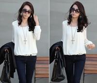 Hot! 5PCS Korean chiffon long-sleeved blouses control Puff white / black big yards loose chiffon shirt shirt bottoming shirt