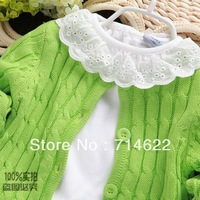 Free shipping 100% cotton small female child sweater spring and autumn outerwear girls cardiga sweater clothing autumn outerwear