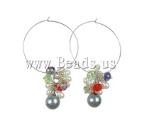 Free shipping!!!Freshwater Pearl Earrings,korean, Cultured Freshwater Pearl, with Crystal, iron clip, with rhinestone, 6-8mm