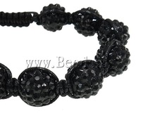 Free shipping!!!Resin Shamballa Bracelets,Wedding Jewelry, with Wax Cord & Non-magnetic Hematite, handmade, with rhinestone
