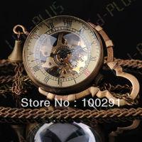 Steampunk Glass Ball Mechanical Pendant Pocket Old Watch Fob20PCS/LOT  MIXED STYLE OPTION  FREE SHIPPING