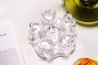 free shipping glass  heart-shaped warmer Plum base Keeping the temperature of tea