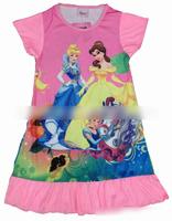 Free Shipping,4pcs/lot,The 3 princess,Kids' girl clothes nightgowns baby kids sleepwears wear kids princess nightgown 137I