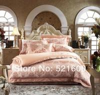100% cotton tribute silk jacquard 4Pcs bedding set wedding bedding chothes comforter cover bedspread pillowcase Free Shipping