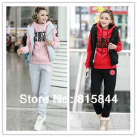 Women Autumn & Winter Fashion Sweatshirt Hoodie Set, Thickening Leisure Sports Hoodie (hoody,panty,vest) 3pcs/set