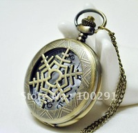 Can mixed design !!! Wholeslae Snowflake Antique Brass Bronze Charm Pendant Fob Pocket Watches Necklace Nickel and Leed Free!!