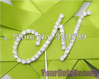 "Free Shipping--1pcs Monogram Silver Diamante Letter ""N"" 1.8 inch(45mm) Wedding Cake Topper cupcake decoration"