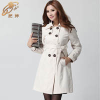 2014 brand mm plus size british style trench overcoat women's xxxxl autumn and winter trench coat  plus size women clothing
