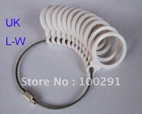 Free ship!!! UK L-W white Plstic Ring Sizer Mandrel Finger Sizing