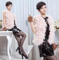 Turkey ostrich wool sweater vest feather petals women's fur vest outerwear